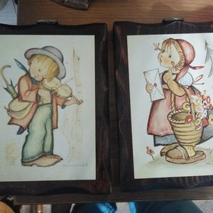 Set of 2 vintage Hummel wall plaques